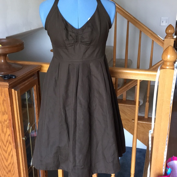 J Crew Halter Dress Brown Cotton Sz 6